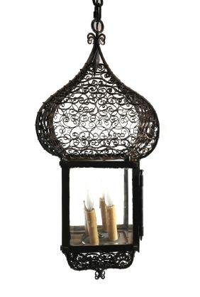 Victorian Style Iron/Glass Lantern