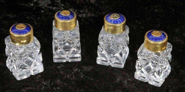 402: 4 Glass Shakers w/ Blue Enamel Tops