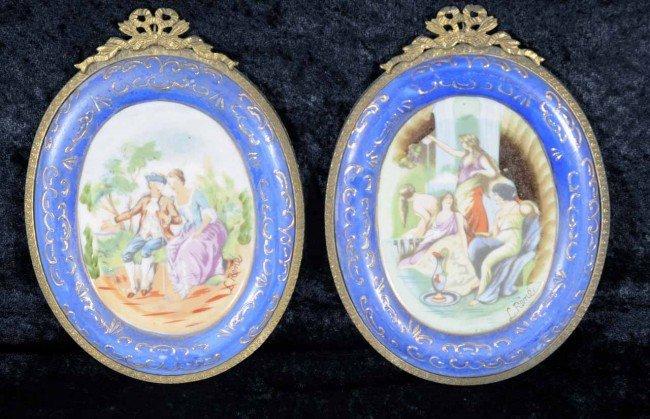 403: Pr. Sm Oval Porcelain Plaques w/ Ormolu Frames