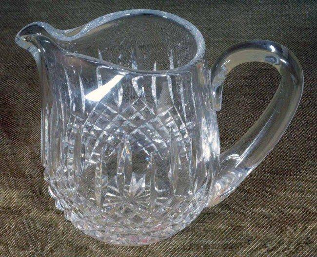 406: Cut Glass Milk Pitcher.  Diamond Pattern.