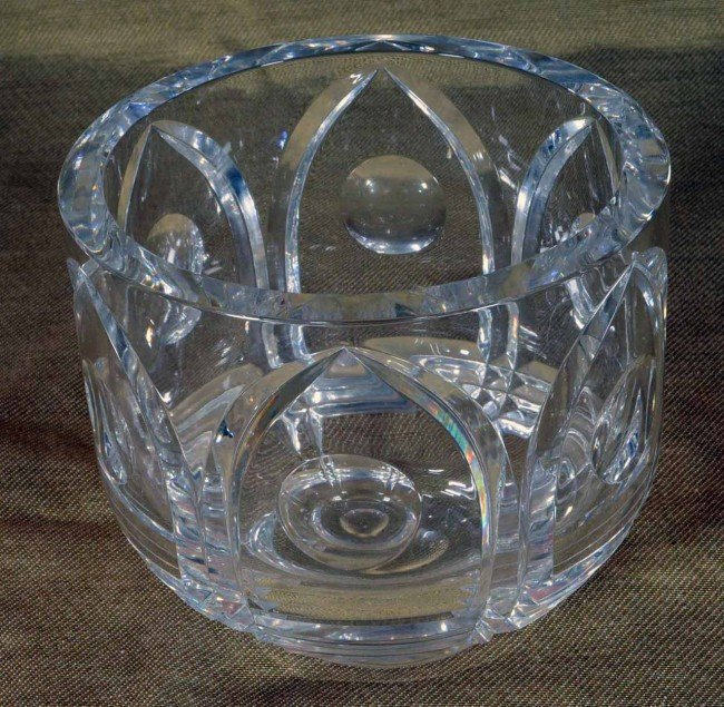 "420: Orrefors Cut Glass Bowl.  6 1/2"" H x 7 1/8"" Diam."