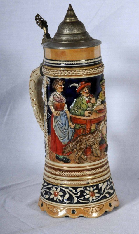 4: German Ceramic Beer Stein.  Thorens Music Box in Bas