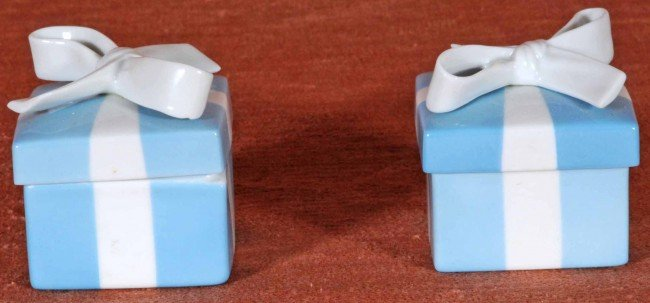 5: 2 Tiffany & Co. Porcelain Covered Vanity Boxes.  2 1
