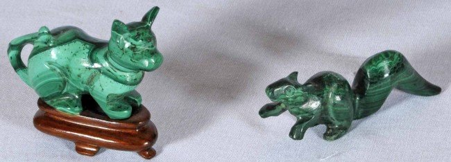 "6: 2 Small Malachite Carved Animals.  A Cat, 1 3/4"" H x"