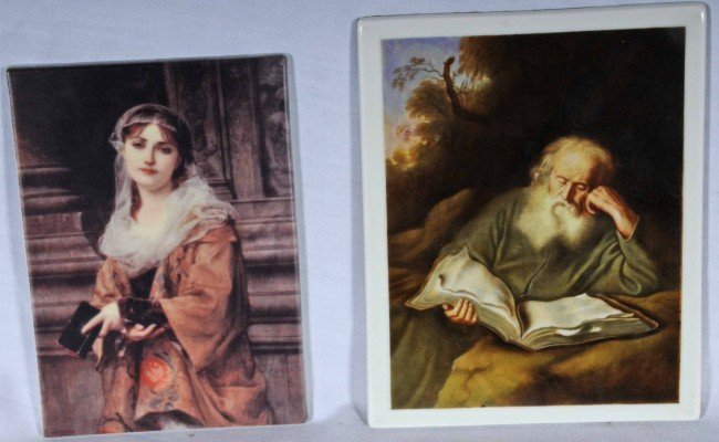7: 2 Contemporary Porcelain Plaques.  Young Girl w/ a B