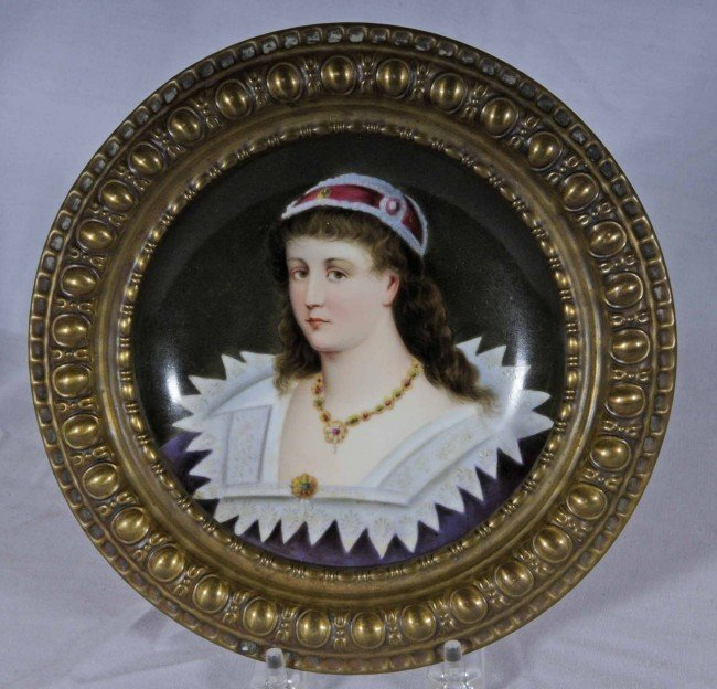 9: European Portrait Plate of a Young Lady.  Metal Fram