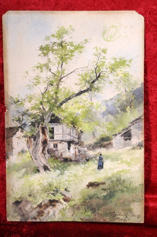 "11: European Watercolor Landscape.  Ent. ""Homestead on"