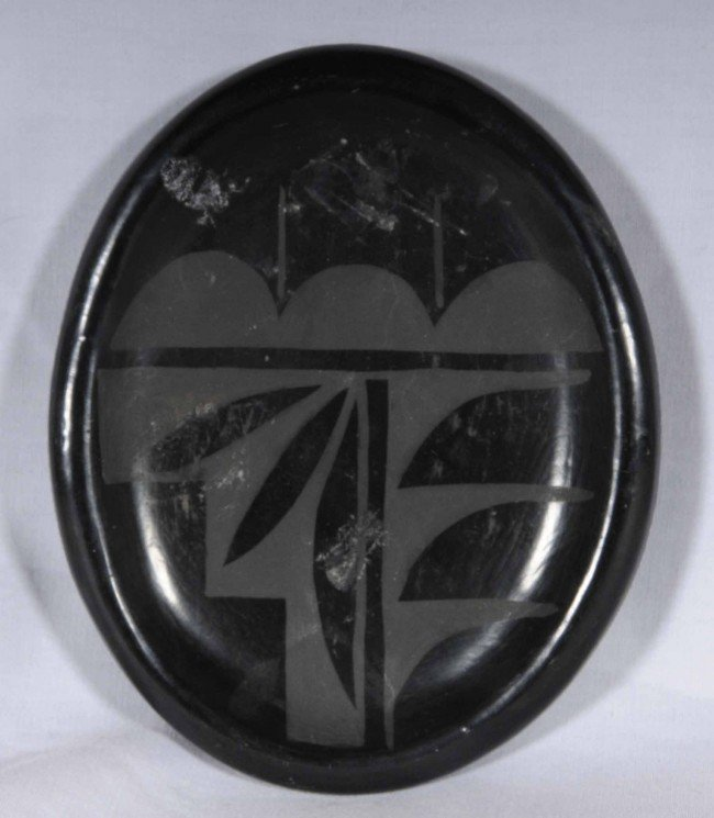 "12: American Indian Blackware Pottery Oval Dish.  1"" H"