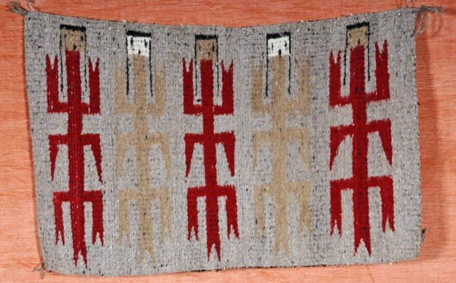18: Navajo Indian Double Sided Blanket.  Corn Stalk Yei