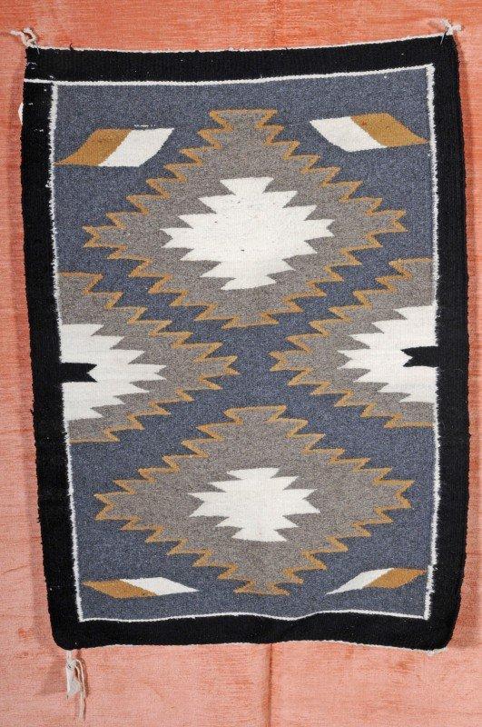24: American Indian Saddle Blanket. Black Border, Grey,