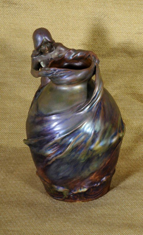 126: Zsolnay Iridescent Pottery Vase.  Figure of a Lady