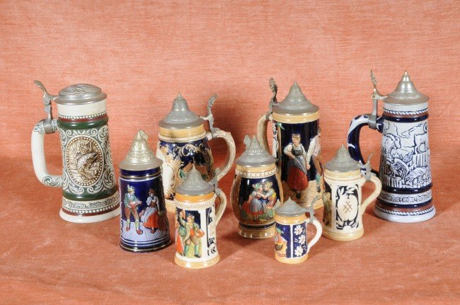 1: 9 Beer Steins.  Some German & Some Reproductions.  S