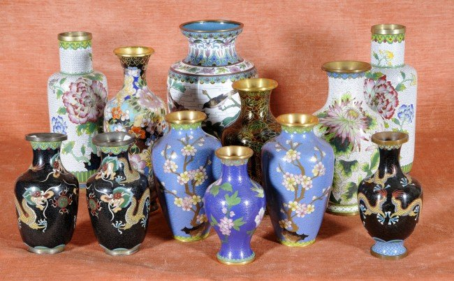 2: 12 Chinese Cloisonne Vases.  Ranging in size from 6""