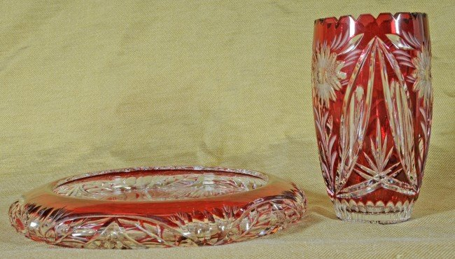 4: 2 Cranberry Cut to Clear Glass Pcs.  Round Tray 1 1/