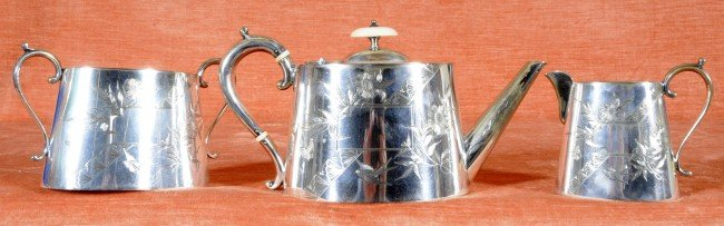 5: Antique 3 Pc. Victorian Silver Plated Tea Set.
