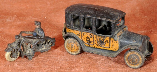 12: 2 Old Metal Toys.  Truck & a Motorcycle w/ Rider.