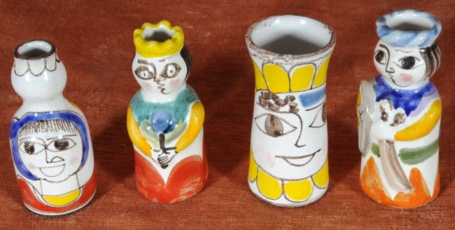 16: 4 Ceramic Vases.  Figural Decoration.  Sig. Desimon