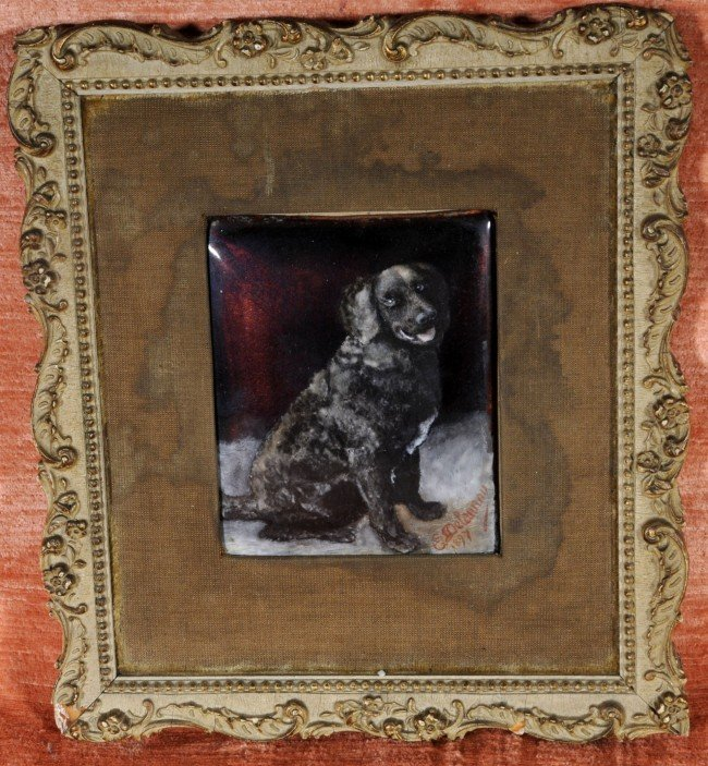 17: French Enamel on Copper Framed Placque.  Black Dog.