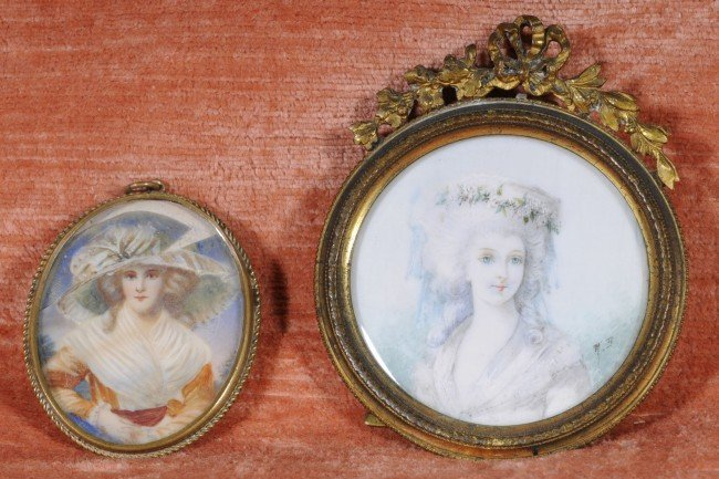 "19: 2 Hand Painted Ivory Miniatures.   3 1/4"" H x 2 3/4"