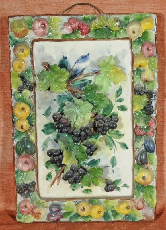 22: Italian Ceramic Plaque.  Decorated w/ Grapes in Rel