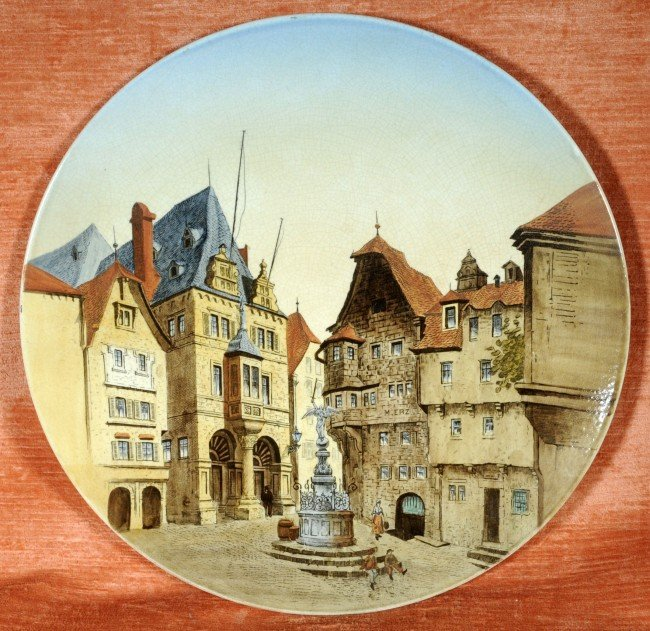 23: Antique German Ceramic Plate.  Painted Scene.  Stad