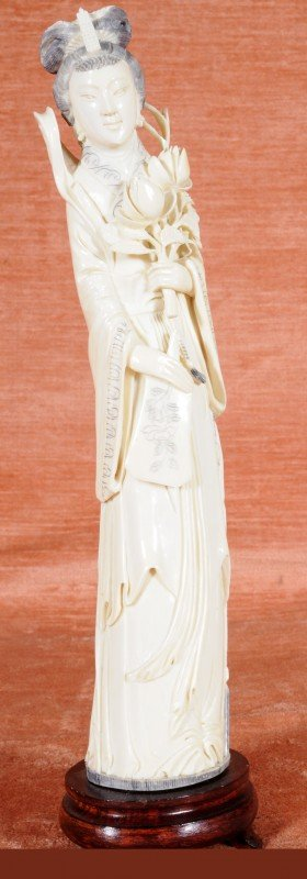 54: Chinese Carved Ivory Figure of Kwan Yin, Holding Fl
