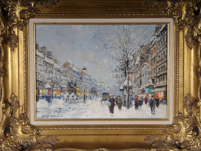 "108: Oil Painting on Canvas.  Ent.""Winter of Boulevard"