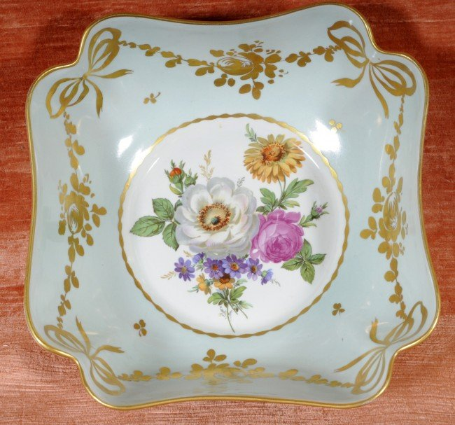 1: French Limoges Shaped Bowl. Floral Decorated Center.