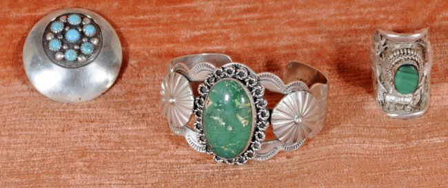 2: 3 Pc.  Silver American Indian Jewelry.  Bracelet, Ri