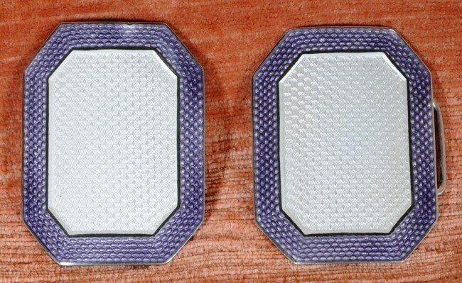 "4: 2  French Silver & Enamel Buckles.  2 "" x 1 3/4"" ."