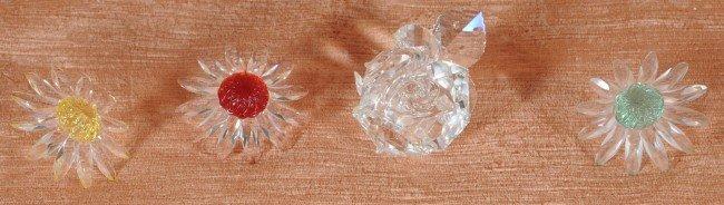6: 4 Swarovski Crystal Flowers.  A Rose w/ a Box, and 3
