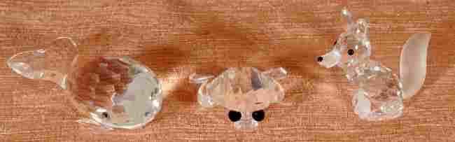 7: 3 Pc. Swarovski Crystal Figurines.  A Whale (Box), F