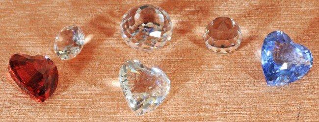 8: 6 Swarovski Crystal Jewels.  3 Hearts, Blue, Red & C