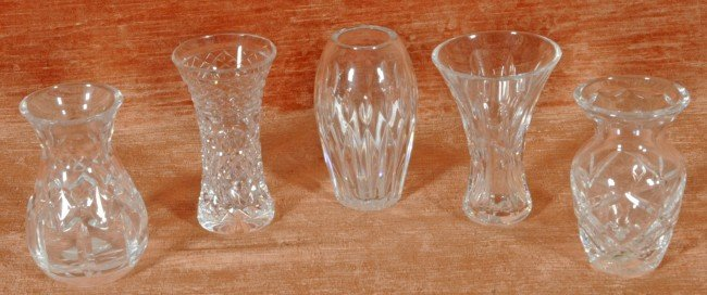 """10: 5 Small Waterford Cut Crystal Bud Vases.   4 1/2"""" H"""