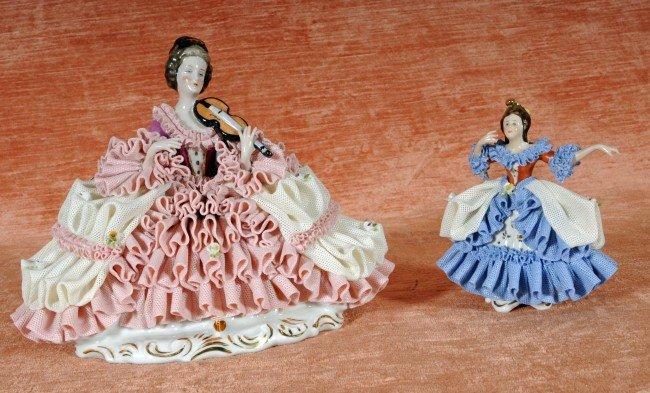 14: 2 German Porcelain Figures of Ladies w/ Lace Dresse