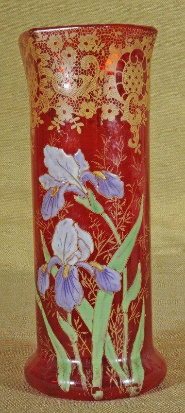 19: Red Bohemian Glass Vase.  Floral Enamel & Gilt Trac