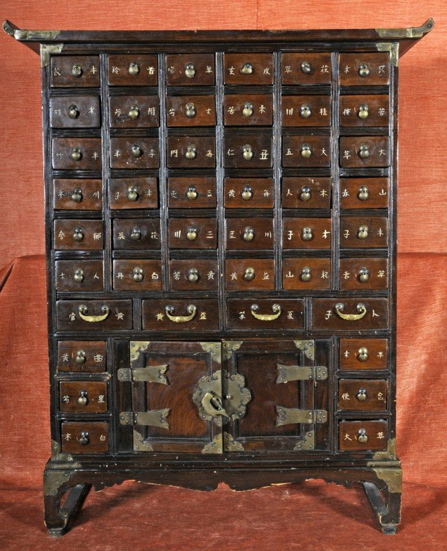 Ant. Korean Medicine Cabinet. 46 Drawers and Doubl