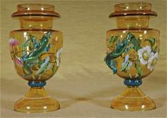 62 Pr 19th C Moser Amber Glass Vases  Blue Salamand
