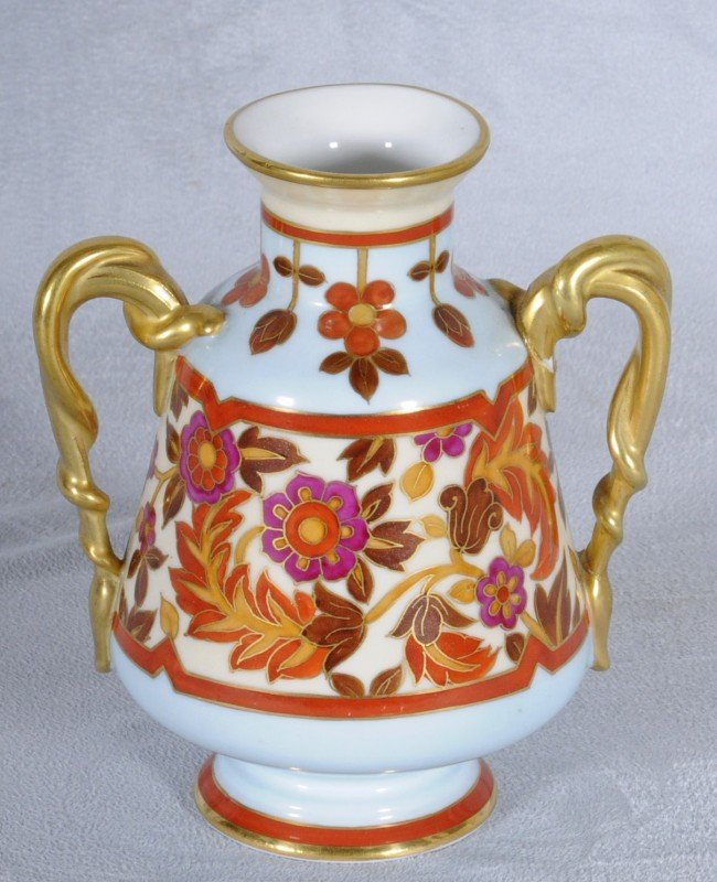 401: Russian Porcelain Two Handle Vase.  Blue & Yellow