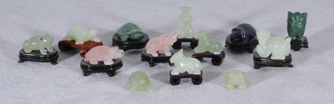 403: 13 Small Oriental Carved Hardstone Animals.  Jade,