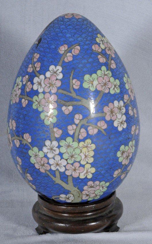 405: Blue Chinese Cloisonne Egg.  Floral Decoration.  T