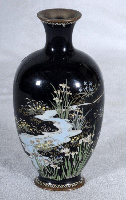 406: Antique Dark Blue Japanese Cloisonne Vase.  Landsc