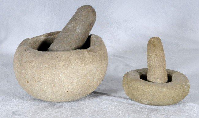 407: 2 American Indian Grinding Stones w/ Stone Pestles