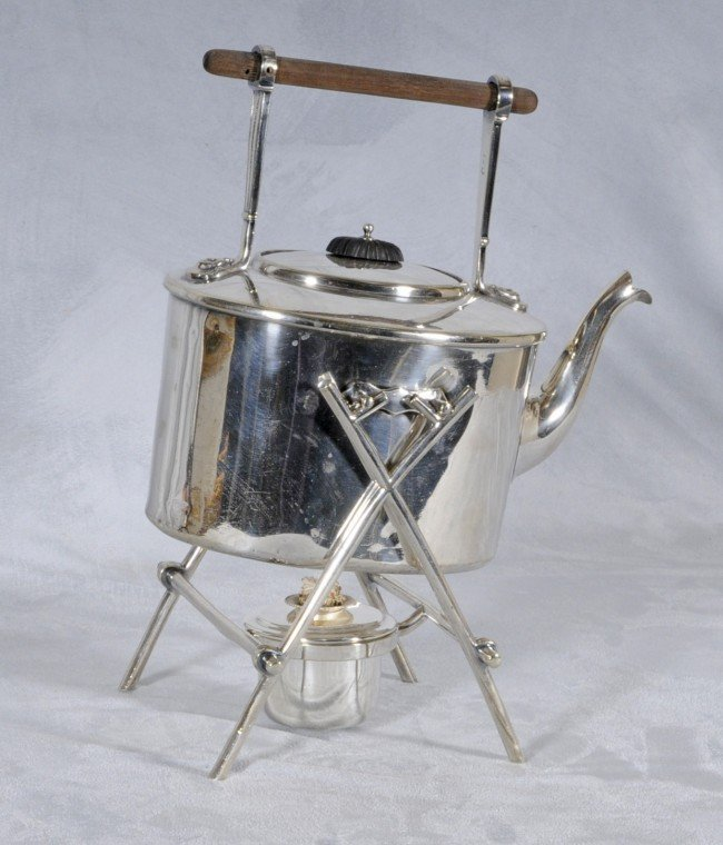 """408: English Silver Plated Teapot on Stand.  12 3/4"""" H"""