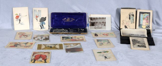 409: 2 Antique Cases.  One contains a Drafting Set, the