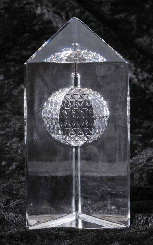 """410: Waterford Crystal Paperweight.  Stamped """"Times Squ"""