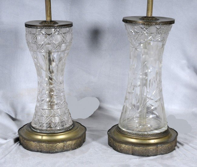 412: 2 Cut Glass Vases, Mounted into Lamps.  Glass Vase