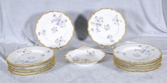 416: 13 pc. White & Gold Eng. Worcester Dessert Set.  1