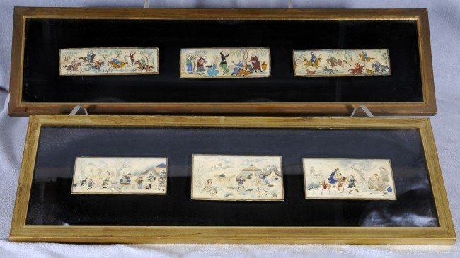418: 2 Framed Miniature Persian Plaque Scenes.  3 Plaqu