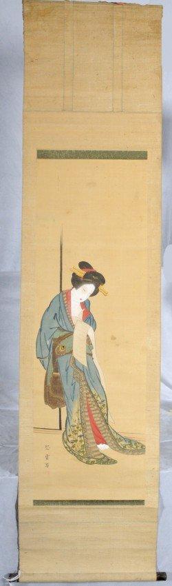 423: Hand Ptd. Ant. Oriental Paper Scroll of a Geisha G